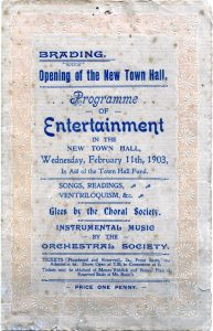 Programme for the opening of Brading New Town Hall. 1903.