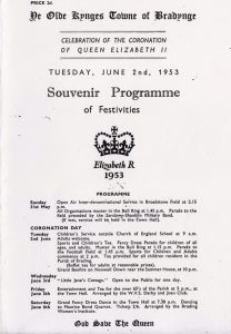 Programme for the Brading celebration for the Coronation of Queen Elizabeth 11. 1953.