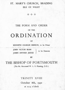 The ordination of Kenneth Henson, John Bean, James Judge, 1950.