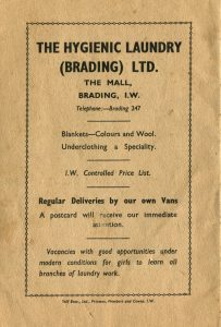 Advert for Brading's Hygienic Laundry.