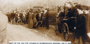 Island Fox hunt and hounds at Rowborough 1908.