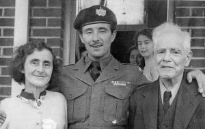 1953 Philip WADE with his parents, he had been a POW in Korea.