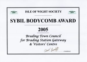 Isle of Wight Society award certificate 2005