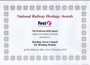 National Railway Heritage Awards certificate 2010