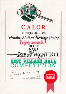Best Village Hall Competition certificate 1990