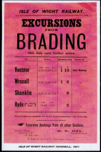 Notice of rail excursions from Brading July 1921
