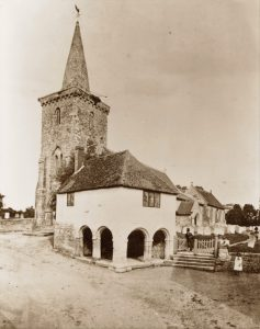 Brading Old Town Hall and Jail. Built in 1730. Photograph prior to 1876 when it was restored.