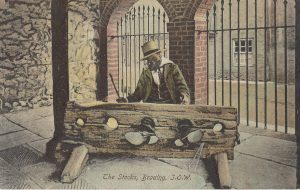 Brading Old Town Hall. High Street. The Stocks. Postcard.