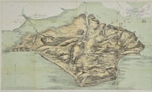 1870 Fowles Birds Eye View Map of the Isle of Wight, England