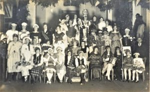 Brading. Girls' Friendly Society. The Annual Soiree  was held in the New Town Hall for many years. Mr Shem Tull acted as M.C. and prizes were awarded for fancy dress. About 200 attended. Photograph.