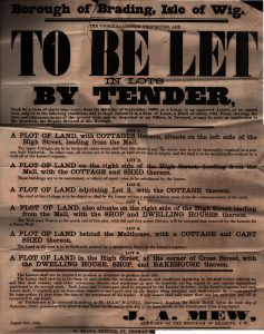 Poster advertising sale of leases for letting 6 lots 1868