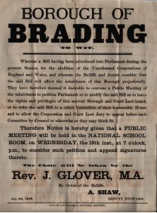 Poster giving notice of public meeting to petition Parliament 1882