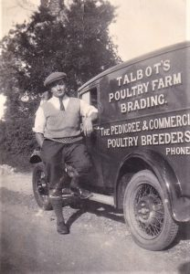 BRADING POULTRY FARM, circa early 1930s. Mr Bert Talbot is stood by the van and on the motorcycle. In the other two photos, he and his brother Joe are haymaking, and his wife Iris Bartlett is feeding the birds.