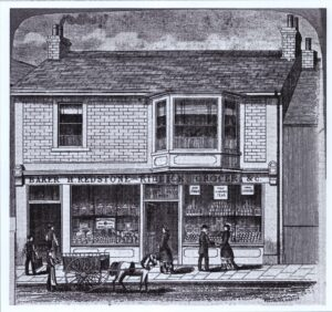 Engraving of Henry Redstone and the late Riddick's Bakery and Grocery shop, Brading, undated.