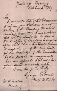 Letter from George Osborne of Sanitary Committee asking for use of Town Hall 1899