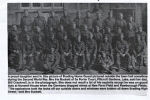 Photo of Brading Home Guard in 2nd World War from newspaper, undated.