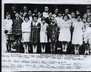 Photocopy of B+W photo of Brading Primary School IW Music Festival 1938