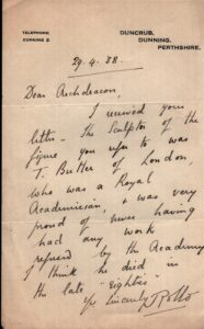 Letter from Rollo of Duncrub to Archdeacon about sculptor 1938
