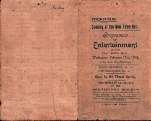 Programme of Entertainment for opening of the New Town Hall 11th February 1903.
