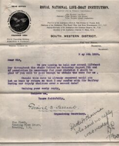 BTT 1281-1-69. Letter from Percival Tarrant of RNLI, 1920, re: Annual Lifeboat Day.