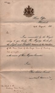 BTT 1283-1. Letter from the Home Office, 1911 thanking the Town Trust, signed by Winston Churchill.