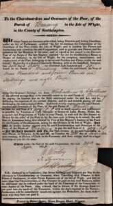 BTT 1283-11. Notice of quarterly assessment for Parish of Brading for Overseers of the Poor 1830.