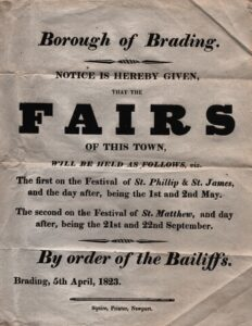 BTT 1283-12. Notice of the dates of Fairs in Brading Town, from the Bailiffs, 5th April 1823.