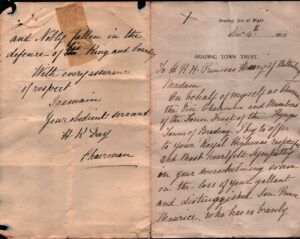 BTT 1283-3. Letter from H K Day to Princess Henry of Battenburg on the death of Prince Maurice, November 1914.