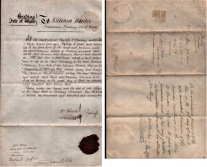 """BTT 1283-7. Notice served on William Warder to quit premises of """"Penthouse adjoining Warder's shop Market"""",1872."""