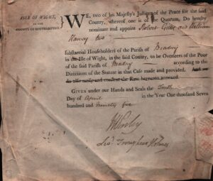 BTT 1283-9. Notice of appointment of Gibbs and Hervey as Overseers of the Poor for Brading, April 1795.