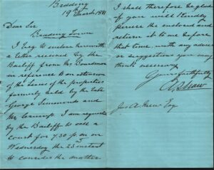 BTT 1289. Letter Shaw to Mew, 1881 re: extension to Boardman's lease of properties.