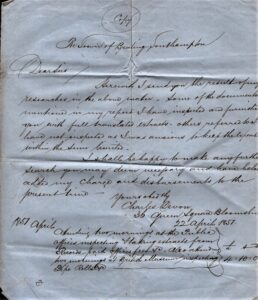 BTT 1291. Copy of letter from Charles Devon, 1857 with bill for researches.
