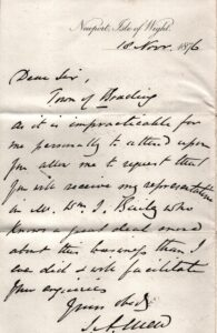 BTT 1293. Letter from J A Mew, 1876, William Bailey will represent him at meeting.