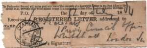 BTT 1489. Post Office receipt from registered letter to Privy Council, 12th July 1884.
