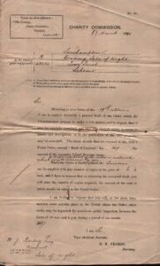 BTT 1497. Letter from Charity Commission, 17th March 1889 re: reprint of order.