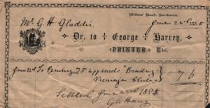 BTT 1538. Receipt from George Harvey for printing cards for Brading Vicarage Club 1885.