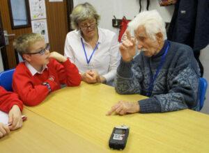 Children from Brading Primary School interviewing Dan Wheeler, January 2019