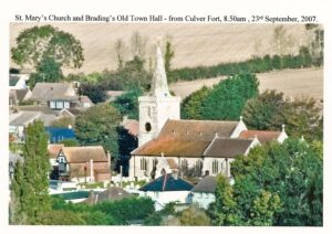 Photo of Mary's Church and Brading Old Town Hall from Culver Fort, 8.50am, 23rd September 2007.