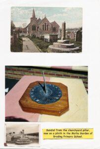 Sundial from the churchyard pillar, now on a plinth.