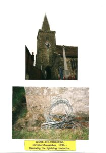 Renewing the lightning conductor on St Mary's tower, 1996.