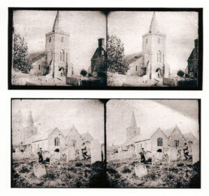 Two early stereoscopic pairs of church tower and yard.