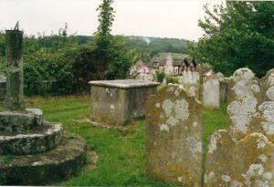Brading Churchyard including Sundial and Wax Museum. 1993