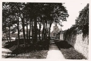 Copy of old postcard, Church looking west from Quay Lane.