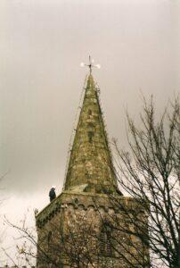 Photo of St Mary's Church steeple repairs.
