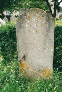 2003 photo of gravestone in St Mary's Churchyard of Patience Brown.