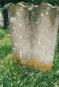 2003 photo of gravestone in St Mary's Churchyard of Martha Brown.