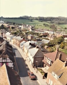 View from the church tower of the High Street