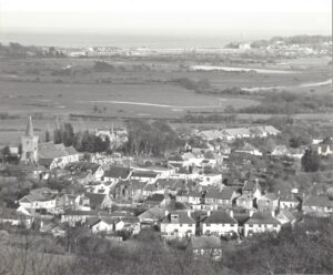View over Brading from the Downs looking towards Bembridge Harbour