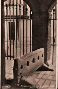 Postcard Brading Stocks and Whipping Post 1950. SB 013.