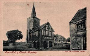 Postcard Town Hall and Church. SB 014.